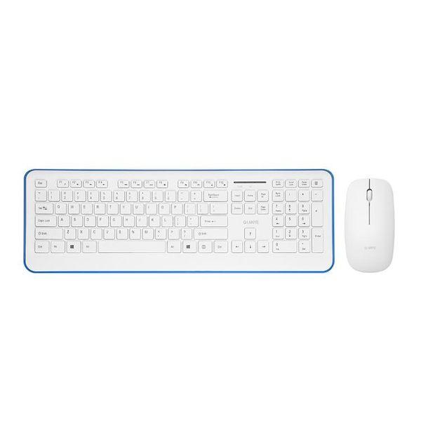 千業台式無線鼠標鍵盤套裝電腦USB外接辦公家用超薄鍵鼠套裝白色igo 3c優購
