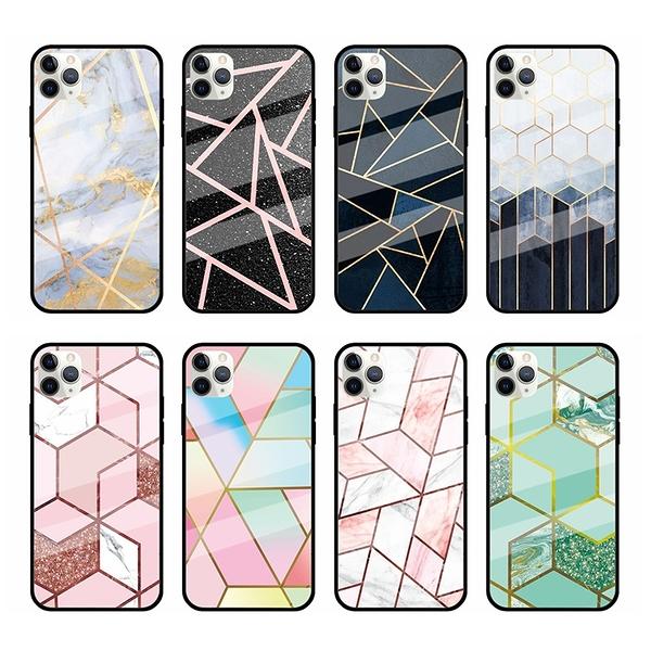 彩色幾何圖形玻璃殼三星Note20 Ultra手機殼 Galaxy Note20保護套 三星Note20保護殼防摔殼 SamSung手機套
