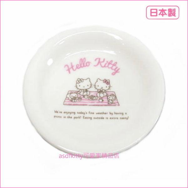 asdfkitty可愛家☆日本金正陶器 KITTY野餐-陶瓷醬料碟/小碟子/點心皿/茶包盤-30904-可微波-日本製