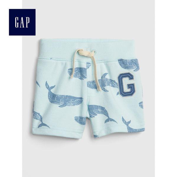 Gap男嬰兒 Logo印花鬆緊腰抽繩短褲 464148-霧淺綠色