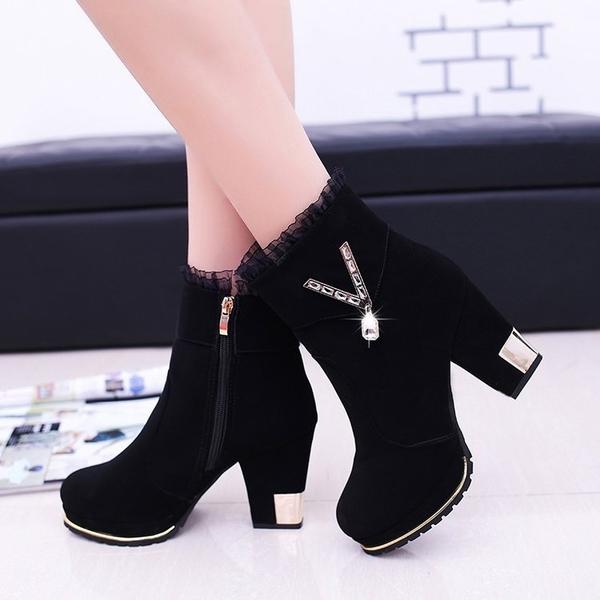 百搭中跟冬季皮鞋女士高跟鞋磨砂短靴子女2021新款秋冬款水鉆粗跟短靴 3C數位百貨