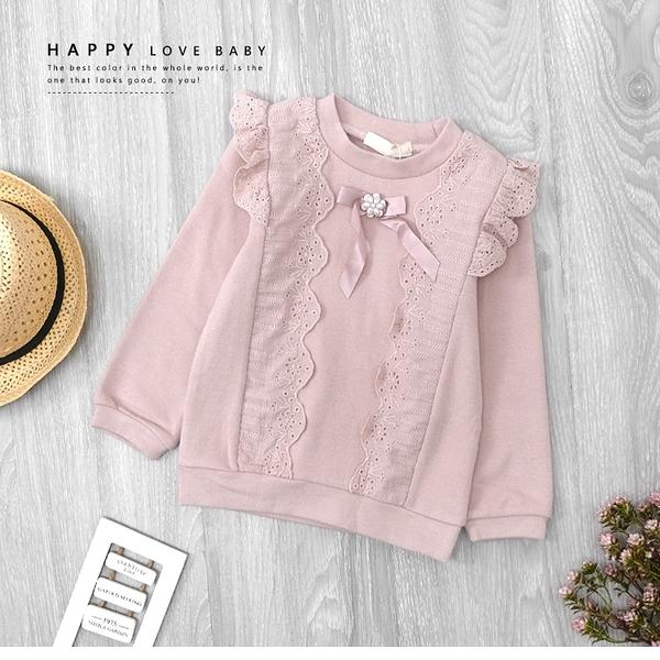 粉嫩甜美氣質簍空蕾絲緞帶上衣 長袖 磨毛 韓系 保暖 女童上衣 厚 兒童長袖 冬童裝