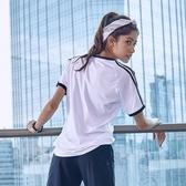 運動短袖女t恤跑步寬鬆顯瘦透氣瑜伽服罩衫健身房套裝女速幹上衣