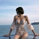 新款游泳衣遮肚顯瘦女性感仙女範ins風網紅蕾絲連體小胸聚攏泳裝