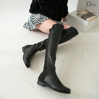 真皮過膝靴-時尚經典百搭率性粗跟女長靴2款73iv12【時尚巴黎】