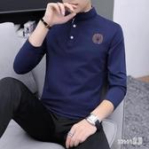 秋季POLO衫2019小衫男士長袖T恤立領冬上衣服男裝新款潮流打底衫 LR12420【Sweet家居】