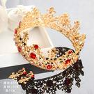 新娘金色頭飾巴洛克皇冠紅色水鉆高檔復古XNPL2 魔法街