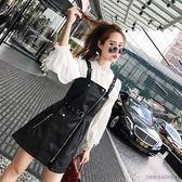 無袖系帶連衣裙 秋季黑色pu皮背帶連衣裙女裝無袖系帶收腰吊帶a字裙 巴黎時尚