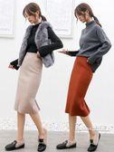 長裙-針織半身裙女新款秋冬季中長款高腰開叉一步裙冬裙長裙包臀裙 korea時尚記