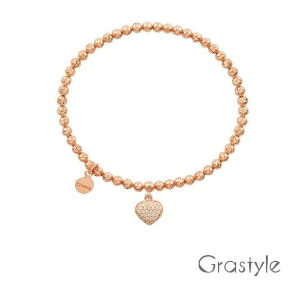 【南紡購物中心】歐莉寶GraStyle 義大利925純銀立體愛心彈性手鍊(兩色)