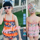 比基尼泳裝-日本品牌AngelLuna 現貨 繽紛小花OnePiece蛋糕裙附同款可愛泳帽 溫泉沙灘兒童女孩泳衣