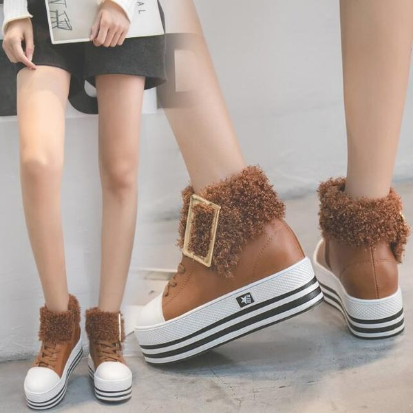 厚底鞋 韓版百搭 休閒鞋 內增高毛毛高筒鞋 裸靴 花漾小姐【現貨】