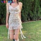 短袖洋裝 法式性感碎花吊帶仙女裙子春夏季蕾絲復古短裙2021新款魚尾連身裙 新品新品
