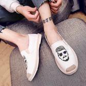 韓版潮流百搭網紅社會豆豆板鞋男士休閒一腳蹬懶人老北京帆布鞋子貝芙莉