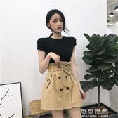 夏季韓國chic綁帶花苞高腰雙排扣氣質A字裙工裝半身裙女短裙 可可鞋櫃