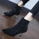 裸靴 燙鉆尖頭短筒裸靴女2020小跟短靴秋冬歐美閃閃宴會鞋細跟高跟靴 降價兩天