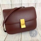 BRAND楓月 CELINE CLASSIC BOX 酒紅色 單肩包 肩背包