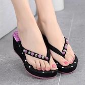 越南平仙拖鞋女外穿夏季時尚厚底涼拖外出海邊沙灘坡跟女士人字拖『潮流世家』