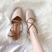 618好康鉅惠中跟復古方頭交叉女鞋包頭涼鞋粗跟高跟鞋
