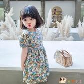 女童夏裝洋裝2020年新款韓版洋氣兒童短袖碎花寶寶公主裙潮裙子 HX5565【花貓女王】