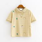 S上衣 元氣印花甜味格紋POLO領三色-月兒的綺麗莊園