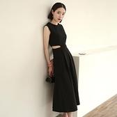 無袖洋裝 夏赫本風歐洲站大牌無袖露腰心機小黑裙 氣質禮服 連身裙收腰顯瘦長裙女