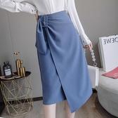 窄裙 2020秋裝OL半身裙女氣質小眾設計感不規則純色百搭洋氣職業包臀裙