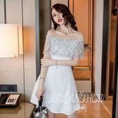✎﹏₯㎕ 米蘭shoe  蕾絲連衣裙夏裝新款裝韓版一字肩露背修身荷葉邊短裙A字裙