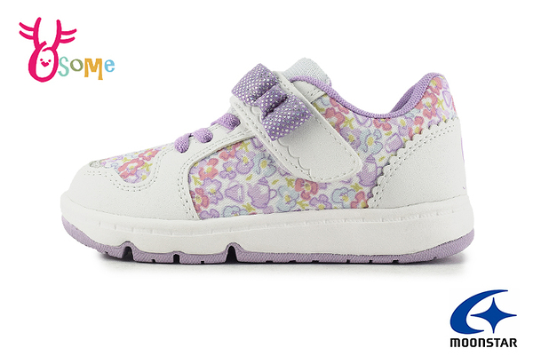 Moonstar 月星 WagaMama系列 日本機能鞋 氣質碎花 中童 運動鞋 I9658#白紫◆OSOME奧森鞋業