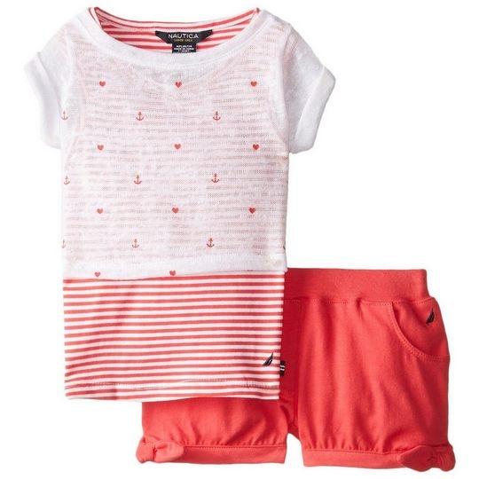 女寶寶套裝二件組 網紗上衣+短褲 紅白橫條 | Nautica童裝 (嬰幼兒/兒童/小孩)