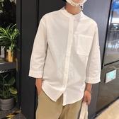 夏季亞麻七分立領襯衫男韓版學生寬鬆半恤上衣潮流小清新短袖 育心小館
