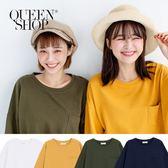 Queen Shop【01037610】單口袋素面多色圓領棉T 四色售*現+預*