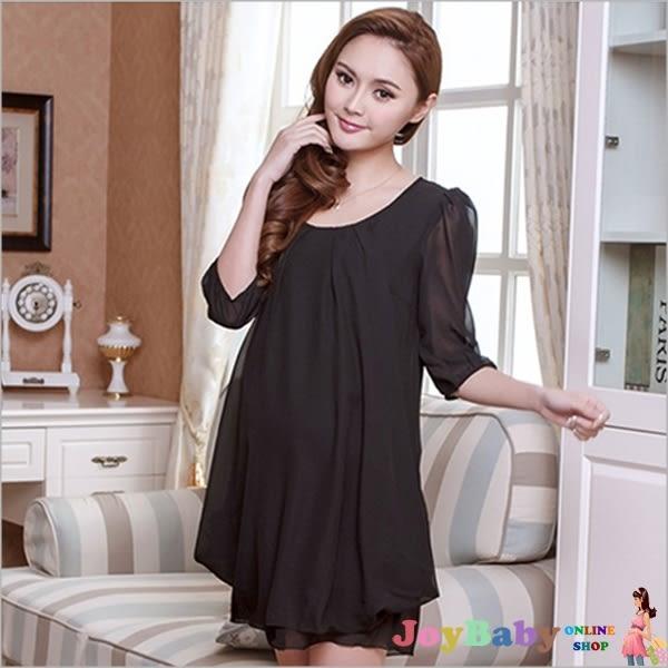 時尚孕婦裝-純色短袖連衣裙娃娃裝-JoyBaby