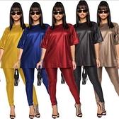 2021新款爆款女裝鉛筆褲仿皮緊身性感多色套裝 夏季新品