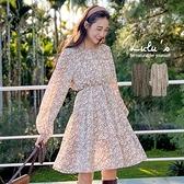 LULUS【A02200140】C印花洋裝附綁帶2色