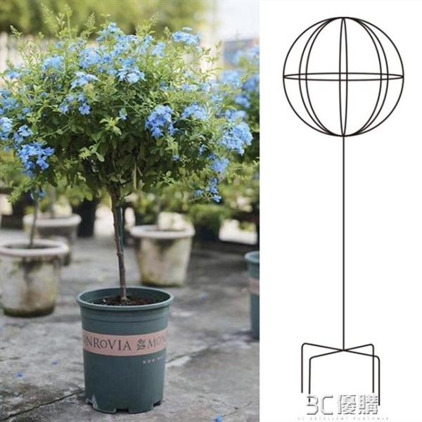 花園風車茉莉鐵線蓮爬藤架藍雪花棒棒糖花架子鐵藝球形造型支架桿 3C優購