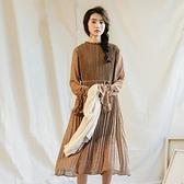 長袖洋裝-立領雪紡碎花復古連身裙3色73xm6[時尚巴黎]