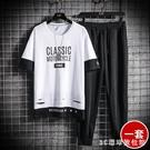休閒運動套裝男夏季2020新款韓版潮流短袖兩件套帥氣T恤薄款男裝 LR23506『3c環球位數館』