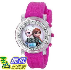 [107美國直購] 兒童手錶 Disney Kids FZN3580 Frozen Anna and Elsa Flashing-Dial Watch with Glitter Pink Rubber