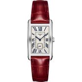 LONGINES 浪琴 DolceVita 獨立小秒針石英錶-銀x紅/26mm L57554715