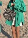 鹵鹵lulu棉麻襯衫女2021年新款春裝外穿夏季寬鬆粉色襯衣外套春秋 設計師