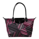 Longchamp幾何風格錯視條紋長提把小型水餃包(紅色)480537-545