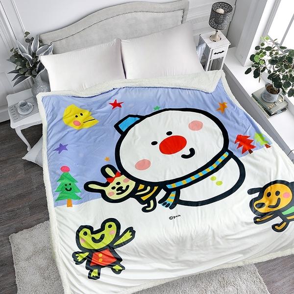 【P714星球】水晶羊羔絨雙面攜帶毯(雪人)-原創獨家授權製造_TRP多利寶