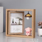 創意北歐個性鐵藝相框擺台木質雙面相架簡約...