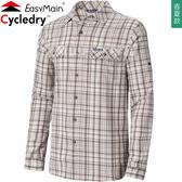 EasyMain衣力美 SE19079_9396竹卡其 男彈性快乾防曬襯衫 Cycledry機能上衣/防曬中層衣/快乾排汗衣