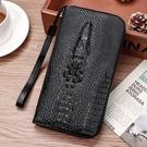 鱷魚紋錢包男士青年長款多卡位大容量手拿包手機包錢夾票夾拉鏈包 依凡卡時尚