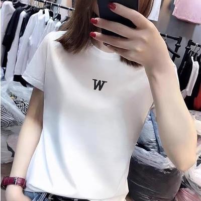 涼感上衣短T~7769白色t恤女短袖百搭修身純棉上衣體恤ins潮DC12日韓屋