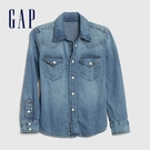 Gap男童 時尚水洗按扣拉鍊長袖牛仔襯衫 618347-牛仔藍