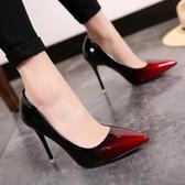 韓版新款尖頭漸變色女鞋淺口單鞋細跟高跟鞋性感夜店OL工作鞋