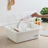 塑料碗筷收納盒 碗筷餐具收納盒碗柜小廚房瀝水碗架帶蓋塑料碗碟架放碗盤子收納箱JY